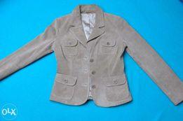 Beżowa damska skórzana marynarka-żakiet, rozmiar 38
