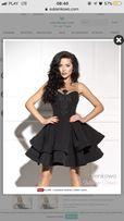 Czarna ekskluzywna sukienka z haftem