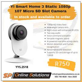 Yi Smart Home 3 Static 1080p 107 Micro SD Slot Camera White