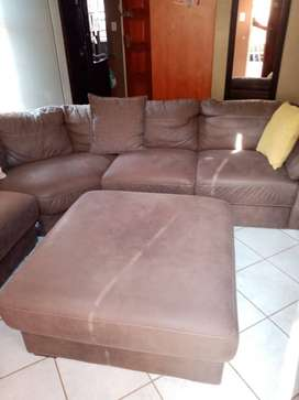 L Shape Leather Suede Couch For Sale