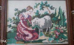 Картина вышитая крестиком - Алёнушка