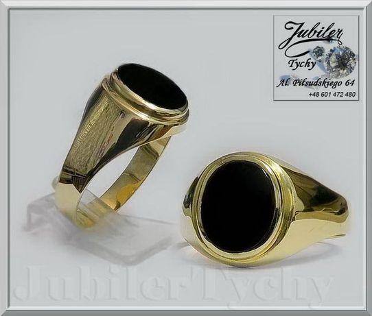 Złoty sygnet z onyksem Złoto Au 585 onyks 12x10 mm Jubiler Tychy Tychy - image 1