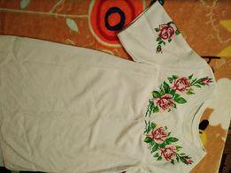 Блузка-туника вышиванка с бисером