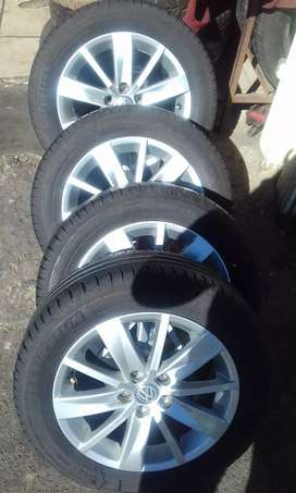 A set of mags rims and tyres  for  VW TSI polo for sale