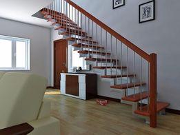 Лестница в дом на второй этаж, деревянная, металлическая, изготовление