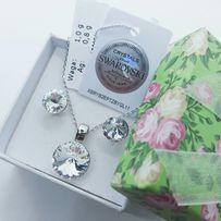 Подарок девушке жене маме Сваровски серебряный набор украшений