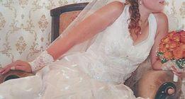 Свадебное платье с застежкой за шею. По скидке! В отличном состоянии!