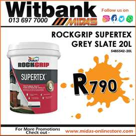 Dulux Rockgrip Supertex Grey Slate 20L ONLY R790 at Midas Witbank!