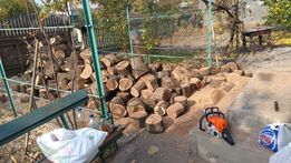 Спил дерева, нарезка дров, работа бензопилой.