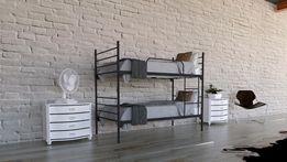 Łóżko metalowe piętrowe rozkładane hotelowe z materacami i pościelą
