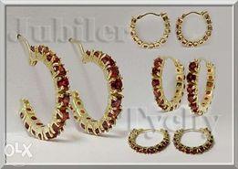 Nowe Złote Kolczyki Koła z Granatami Złoto 585 x 26 szt.