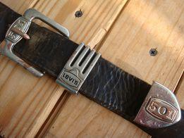Фирменный кожаный ремень LEVI'S 501, коричневый.