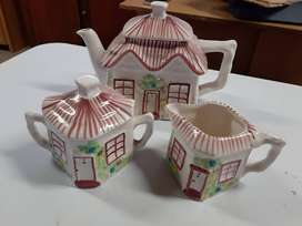 Tea set - teapot, milk jug and sugar pot