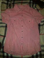 Koszula na krótki rękaw H&m kratka krata biało różowa M 38