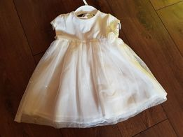Cool Club nowa Sukienka wizytowa tiul chrzest biała + opaska na gł. 80