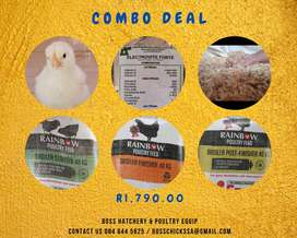 Combo Deal - Day Old Broiler Chicks, Feed, Saw and Vitamins