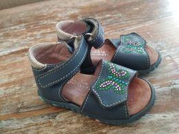 Босоножки туфельки сандалии кожанные синие в стразиках 12 см, 19 р-р