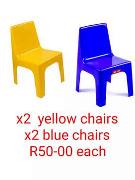 Toddler chairs yellow and blue