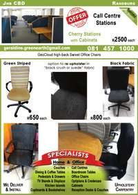Image of (R) Swivel Office Chairs in Green Stripes or NEW Black Fabric
