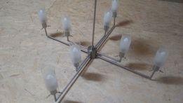 Lampa nowoczesny styl 8 kloszów srebrna