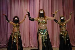 """Восточные костюмы для шоу """"Мездеке"""", 2шт, черные+золото, 44-48."""
