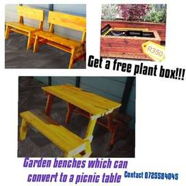 Garden benches which can convert to a picnic table, FREE planter