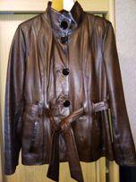 Кожаный пиджак на пуговицах