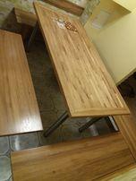 stół dębowy duży + ławki PILNE