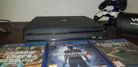 Ps4 pro 1tb concole with 3 games  and 2 remotes
