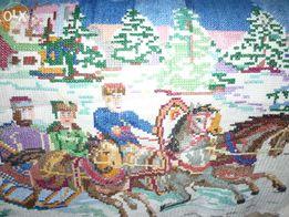 Картина вышитая крестиком (цыганка с кувшином, лошади в упряжке)
