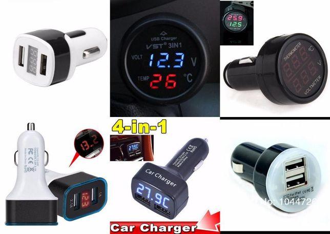 Зарядка USB 3в1 тестер/вольтметр/термометр в прикуриватель зарядное Кривой Рог - изображение 8