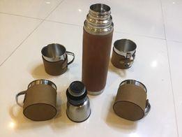 Набор подарочный термос нержавеющая сталь+ чашки в кожанном чехле