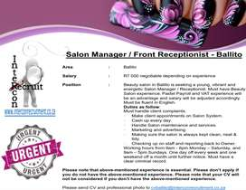 Salon Manager / Front Receptionist - Ballito