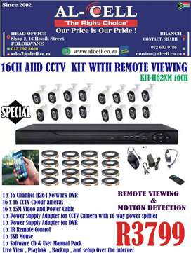 16CH AHD CCTV KIT WITH REMOTE VIEWING KIT-H62XM 16CH