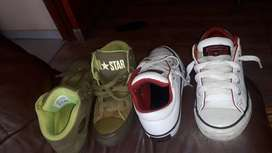 Second hand Converse  all star shoes. Size 12 green.size 13 white