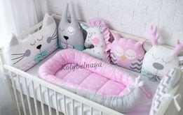 Бортики игрушки звери в детскую кроватку,одеяло,кокон