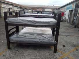 Wooden double bunk with mattress new