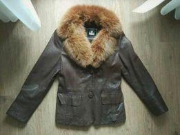 Кожаная куртка Курточка Мех песец Натуральная Размер 44-46 Пальто Плащ