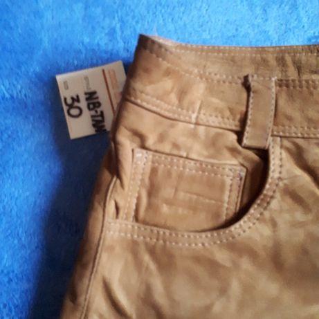 Nowe skórzane spodnie pięknie wyprawione piękny kolor rozmiar 30 Rzeszów - image 3