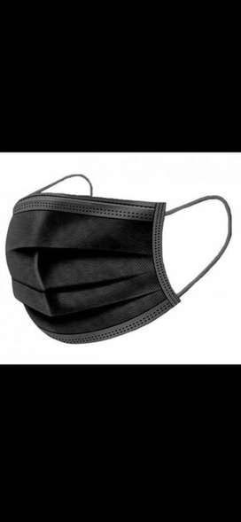 Adults black disposable surgical facemasks