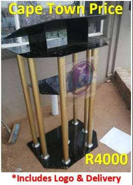 6 Golden Tubes With Black Double Top Perspex Podium
