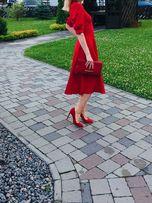 Плаття платье миди червоне 36