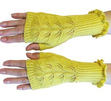 Mitenki z wełny w kolorze żółtym