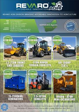 Revaro Agri Range of loaders TLB Gensets Forklifts