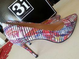 Buty z Brazylii NOWE 3i r. 36 pantofle czółenka multicolor ze skóry