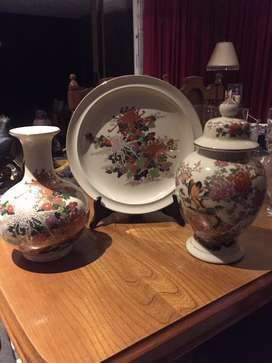 Ornamental vases and plate