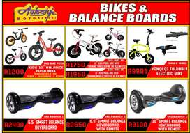 Bicycles, push bikes, kids bikes, electric bikes, hoverboard,  balance