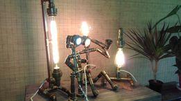 Светильник ручной работы из труб, дерева и бетона в стиле лофт