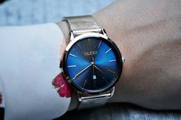 NOWY Damski elegancki zegarek złoty bransoleta granatowy blat datownik