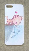 Nowe etui case iPhone 4 4S obudowa print wzór kot kotek rybka